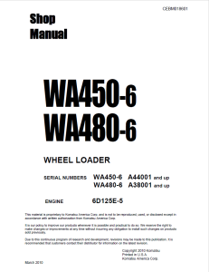 komatsu wa450-6, wa480-6 a44001 and up, a38001 and up wheel loader shop manual cebm018601 english