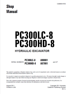 komatsu pc300lc-8, pc300hd-8 a90001 and up, a87001 and up hydraulic excavator shop manual cebm018703 english