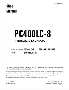 komatsu pc400lc-8 a88001 - a88545 hydraulic excavator shop manual cebm018803 english