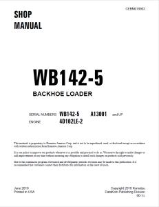 komatsu wb142-5 a13001 and up backhoe loader shop manual cebm018903 english