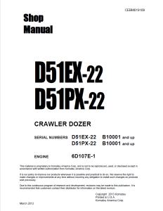 komatsu d51ex-22, d51px-22 b10001 and up crawler bulldozer shop manual cebm019109 english