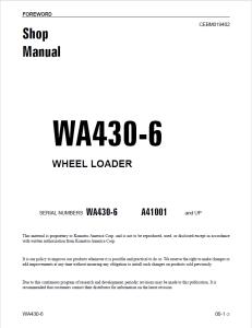 komatsu wa430-6 a41001 and up wheel loader shop manual cebm019402 english
