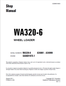 komatsu wa320-6 a34001 - a34999 wheel loader shop manual cebm019803 english