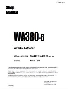 komatsu wa380-6 a54001 and up wheel loader shop manual cebm022703 english