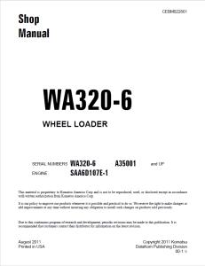 komatsu wa320-6 a35001 and up wheel loader shop manual cebm022801 english