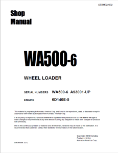 komatsu wa500-6 a93001 and up wheel loader shop manual cebm022902 english