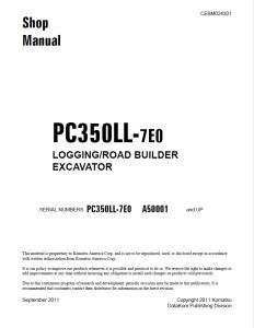 komatsu pc350ll-7e0 a50001 and up log loader, logging/road builder excavator shop manual cebm024301 english