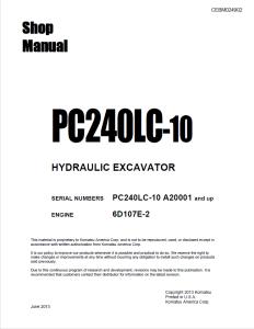 komatsu pc240lc-10 a20001 and up hydraulic excavator shop manual cebm024902 english