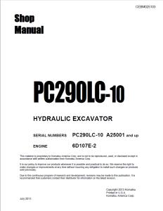 komatsu pc290lc-10 a25001 and up hydraulic excavator shop manual cebm025103 english