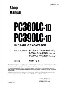 komatsu pc360lc-10, pc390lc-10 a32001 and up, k64001 and up, a30001 and up hydraulic excavator shop manual cebm025204 english