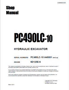 komatsu pc490lc-10 a40001 and up hydraulic excavator shop manual cebm025303 english