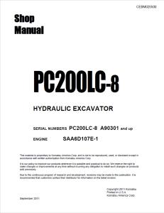 komatsu pc200lc-8 a90301 and up hydraulic excavator shop manual cebm025500 english