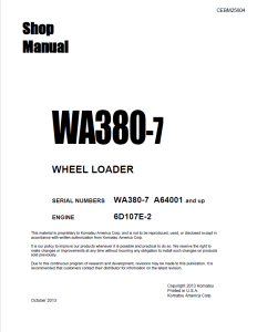 komatsu wa380-7 a64001 and up wheel loader shop manual cebm25604 english