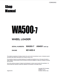 Komatsu WA500-7 A94001 and up Wheel Loader Shop Manual CEBM026802 English | eBooks | Automotive