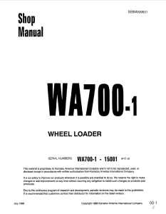 komatsu wa700-1 15001 and up wheel loader shop manual sebm009501 english