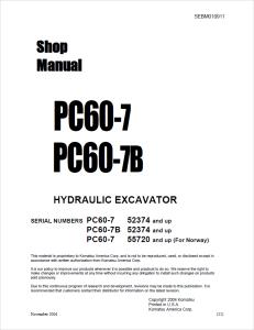 komatsu pc60-7, pc60-7b 52374 and up, 55720 and up (for norway) hydraulic excavator shop manual sebm010911 english