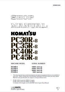 komatsu pc30r-8, pc35r-8, pc40r-8, pc45r-8 10001 and up, 35001 and up, 30001 and up, 5001 and up hydraulic excavator shop manual sebm012604 english