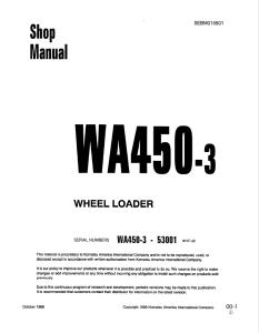 Komatsu WA450-3 53001 and up Wheel Loader Shop Manual SEBM015501 English | eBooks | Automotive