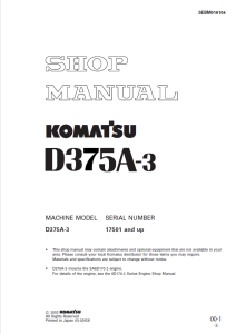 Komatsu D375A-3 17501 and up Crawler Bulldozer Shop Manual SEBM016104 English | eBooks | Automotive