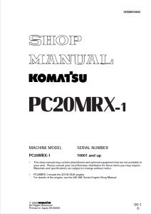komatsu pc20mrx-1 10001 and up hydraulic excavator shop manual sebm016602 english