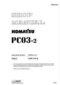 Komatsu PC03-2 21587 and up Hydraulic Excavator Shop Manual SEBM025000 English | eBooks | Automotive