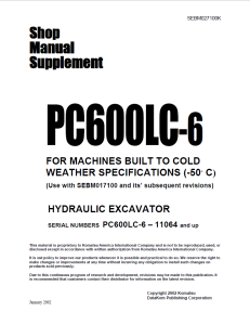 Komatsu PC600LC-6 11064 and up Hydraulic Excavator Shop Manual Supplement SEBM027100K English | eBooks | Automotive