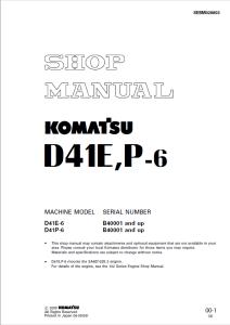 komatsu d41e-6, d41p-6 b40001 and up crawler bulldozer shop manual sebm028803 english