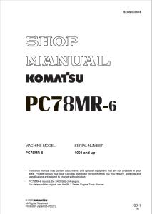 komatsu pc78mr-6 1001 and up hydraulic excavator shop manual sebm030604 english