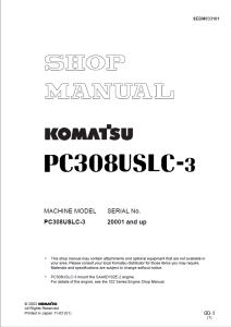 komatsu pc308uslc-3 20001 and up hydraulic excavator shop manual sebm033101 english