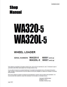 Komatsu WA320-5, WA320L-5 60001 and up Wheel Loader Shop Manual SEBM034604 English | eBooks | Automotive