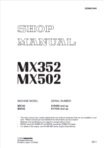 komatsu/ditch witch mx352, mx502 6y6089 and up, 6y7038 and up mini excavator shop manual sebm035400 english