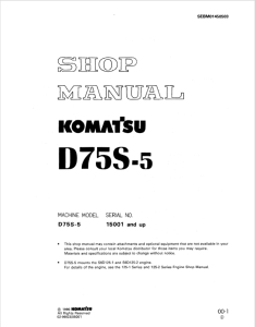Komatsu D75S-5 15001 and up Crawler Loader/Dozer Shovel Shop Manual SEBM01450503 English | eBooks | Automotive