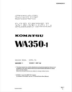 Komatsu WA350-1 10001 and up Wheel Loader Shop Manual SEBM04230107 English | eBooks | Automotive