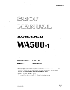 Komatsu WA500-1 10001 and up Wheel Loader Shop Manual SEBM04250107 English | eBooks | Automotive