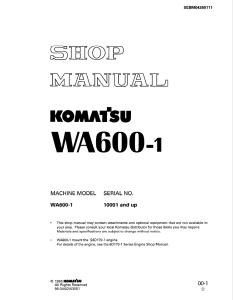 Komatsu WA600-1 10001 and up Wheel Loader Shop Manual SEBM04260111 English | eBooks | Automotive