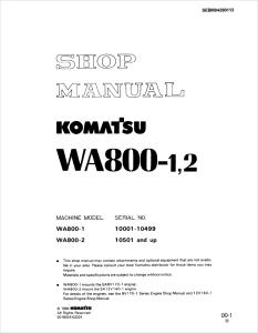 Komatsu WA800-1, WA800-2 10001-10499, 10501 and up Wheel Loader Shop Manual SEBM04280113 English | eBooks | Automotive