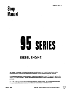 Komatsu 3D95S-W-1, 4D95S-W-1, 4D95S-1, 4D95L-1, 4D95L-W-1, S4D95L-1, 6D95L-1, S6D95L-1, SA6D95L-1, SAA6D95LE-1, 95 Series Diesel Engine Shop Manual SEBE61460114 English | eBooks | Automotive