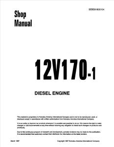 komatsu sa12v170-1, 12v170-1 diesel engine shop manual sebe61800104 english