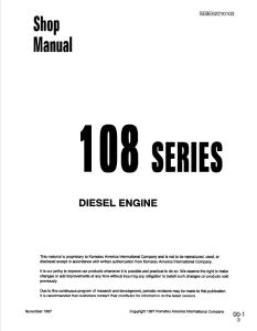 komatsu s6d108-1, sa6d108-1, 108 series diesel engine shop manual sebe62210103 english