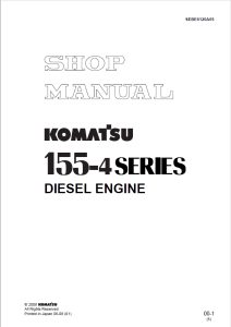 Komatsu S4D155-4, S6D155-4, S6D155G-4, SA6D155-4, 155-4 Series Diesel Engine 10011 and up Shop Manual SEBE6120A05 English | eBooks | Automotive
