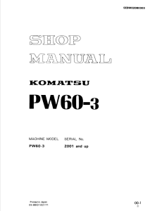 Komatsu PW60-3 2001 and up Wheeled Excavator Shop Manual SEBM020B0303 English | eBooks | Automotive