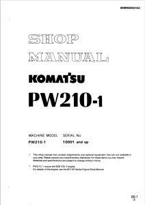 Komatsu PW210-1 10001 and up Wheeled Excavator Shop Manual SEBM020K0102 English | eBooks | Automotive