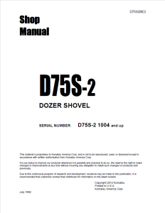 Komatsu D75S-2 1004 and up Dozer Shovel/Crawler Loader Shop Manual D75S2BE2 English | eBooks | Automotive