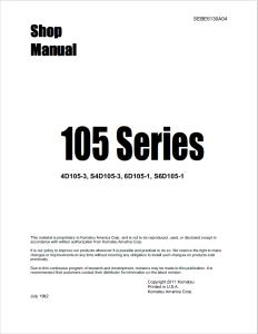 komatsu 4d105-3, s4d105-3, 6d105-1, s6d105-1, 105 series diesel engine shop manual sebe6130a04 english