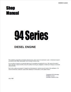 komatsu 2d94-2, 3d94-2, 4d94-2, 4d94-3, 94 series diesel engine shop manual sebe6142a03 english