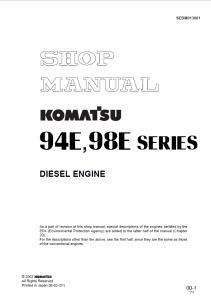 komatsu 4d94e-1a, 4d98e-1a, 94e, 98e series diesel engine shop manual sebm013001 english