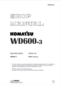 Komatsu WD600-3 50001 and up Wheel Dozer Shop Manual SEBM022904 English | eBooks | Automotive