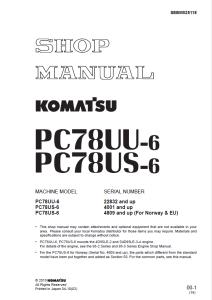 komatsu pc78uu-6, pc78us-6 22832 and up, 4001 and up, 4809 and up (for norway & eu) hydraulic excavator shop manual sebm025118 english