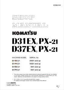 komatsu d31ex-21, d31px-21, d37ex-21, d37px-21 50001 and up, 5001 and up crawler bulldozer shop manual sebm025608 english