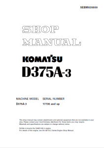 komatsu d375a-3 17736 and up crawler bulldozer shop manual sebm026600 english